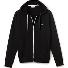 Lacoste Men's Fleece Hooded Sweatshirt With Ribbed Accents - Black/white