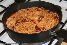 Pasta mit Kidneybohnen und Feta aus der Gastrolux Pfanne - ein echter Test für die Beschichtung, der mit Bravour bestanden wurde