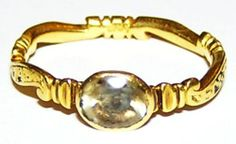 18th Century Jacobite Period Gold Mourning Ring - Stuart Crystal Dated 1745