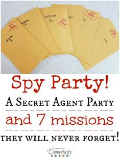 Party: A Secret Agent Birthday Party they will Never Forget! This Spy Party was one of the BEST birthday parties we've ever had! Each of the seven missions were so much fun and the kids were totally into it! Turn all the kiddos into secret agents and give Geheimagenten Party, Craft Party, Party Time, Dinner Party Games, Clue Party, Spy Birthday Parties, Birthday Fun, Kid Parties, Activities For Birthday Parties