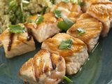Salmon Kebobs with Quinoa and Grapefruit Salad