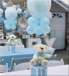 Baby shower balloon garland and centerpieces baby babyshowerideas balloons balloondecor baby shower table centerpieces filled with pink candies winner of bingo at each table got as prize Deco Baby Shower, Baby Girl Shower Themes, Baby Shower Decorations For Boys, Baby Shower Balloons, Baby Boy Shower, Baby Boy Balloons, Teddy Bear Baby Shower, Baby Showers, Baby Shower Table Centerpieces