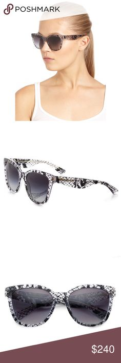 BNIB Dolce&Gabbana Oversized Glam Lace Sunglasses A square shape and oversized silhouette define these frames.  - Style: Retro - Size: 54-19-140mm (eye-bridge-temple) - Frame Material: Acetate - Frame Color: Black Lace - Lens Material: Standard plastic - Lens Color: Violet gradient lens - Protection: 100% UV - Nose Pads: None - Case and box included!  Never worn! Make me an offer! Dolce & Gabbana Accessories Sunglasses