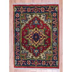 @Overstock.com - Indo Hand-knotted Heriz Red/ Navy Wool Rug (2' x 3') - With a distinctive style, a gorgeous area rug from India will add some splendor to any decor. This Heriz area rug is hand-knotted with a geometric pattern in shades of red, navy, ivory, green, gray, salmon, gold and light blue.  http://www.overstock.com/Worldstock-Fair-Trade/Indo-Hand-knotted-Heriz-Red-Navy-Wool-Rug-2-x-3/7720811/product.html?CID=214117 $87.99