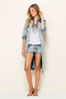 Farm Rio Jean Shirts, Denim Shirt, Farm Rio, Summer Jeans, Vest, Jackets, Fashion, Down Jackets, Moda