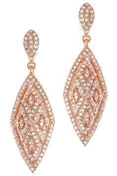 """2 1/2"""" Peach/Gold Diamond Shape Pave Posted Earring."""
