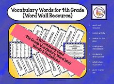 Vocabulary Words for 4th Grade (Word Wall Resource) are commonly used vocabulary words for 4th grade made into student resource cards. #writing #creativewriting #ela #worksheets #writingintervention #intervention #teacher #teaching #photos #prompts #photoprompts Vocabulary Wall, Vocabulary Worksheets, Vocabulary Cards, Life Skills Classroom, Special Education Classroom, Multiple Meaning Words, Teaching Language Arts, Summer School, Reading Comprehension
