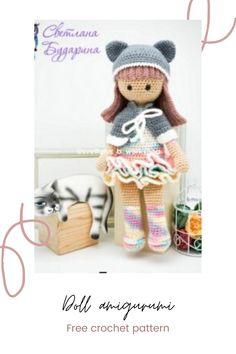 Doll amigurumi free crochetn pattern #dollcrochet #crochetdoll girl crochet Crochet Ideas, Crochet Projects, Free Crochet, Crochet Patterns, Doll Amigurumi Free Pattern, Amigurumi Toys, Half Double Crochet, Single Crochet, Stuffed Toys Patterns