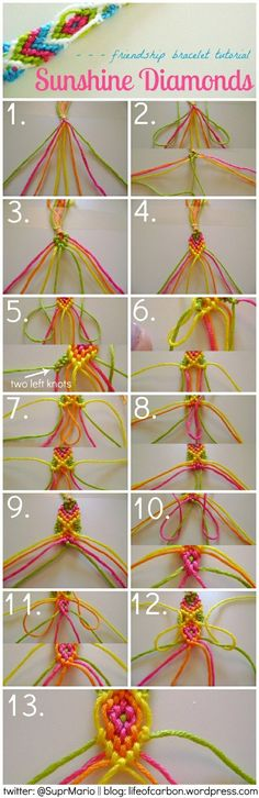 Sunshine Diamonds Friendship Bracelet Tutorial embroidery floss #embroiderylove #handembroidery #embroidery