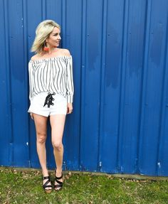 Summer outfit, white Zara shorts, striped off the shoulder top, wedge sandals, fringe earrings, tiaras and heels blog summer style