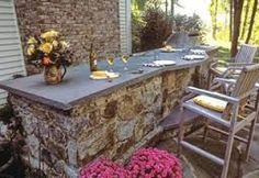 Image result for how to Make a backyard stone bar
