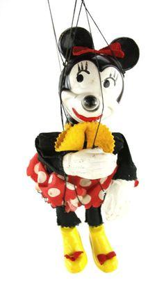 1950s Rare Vintage Walt Disney Minnie Mouse Marionette Puppet Unitol
