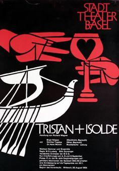 Armin Hofmann, Tristan + Isolde - Stadt Theater Basel, 1954 International Typographic Style