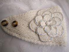 Grey dark grey knit headband ear warmer with by GreatLakesShop