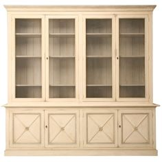 Directoire Style Painted Bookcase w/ European Chicken Wire Doors