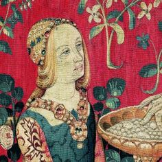 "Detail from ""Taste"" panel from ""The Lady and the Unicorn Tapestry"", Flanders, XV century"