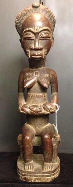 African Baule Ivory coast Wood Hand Carved Mother by WorldofBacara $350.00