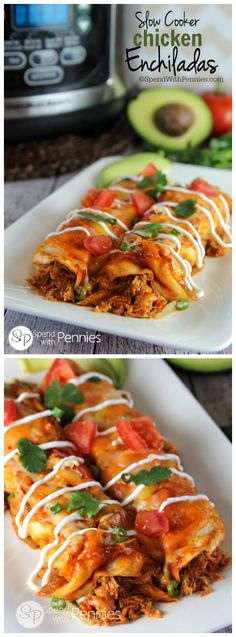Slow Cooker Enchiladas Recipe. Shredded chicken wrapped in tortillas, smothered in sauce and cooked in the crock pot is the perfect weeknight meal!