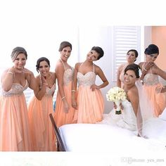 Peach Bridesmaid Dresses 2016 Sexy For Weddings Halter Chiffon Lace Appliques Beaded Party Dress Floor Length Plus Size Maid of Honor Gowns Bridesmaid Dress Under 100 Peach Bridesmaid Dresses 2017 Bridesmaid Dresses Online with 145.15/Piece on Yes_mrs's Store | DHgate.com