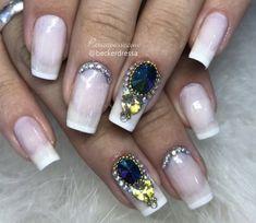 Unhas decoradas com pedras - Tutoriais e fotos incríveis Nail Swag, Pedicure Designs, Nails, Nail Art, Beauty, Eye Makeup Tips, Nail Colors, Jewel Nails, Amazing Photos