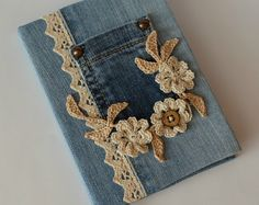 Denim jeans covered handmade notebook personal diary for girls journal traveler's notebook crochet flowers lace blank book gift for her