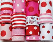 Valentine's Day Pink and Red Ribbon Lot 28 Yards Grosgrain Ribbon - 1 yard each of Pinks, Reds, Whites Solid and Polka Dot Ribbon. $8.55, via Etsy.