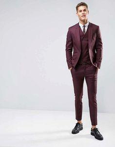 ASOS Skinny Suit in Dark Berry 100% Wool