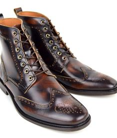 fb9b4da2641e4 The Shelby – Cognac Brown Brogue Boots – Peaky Blinders Inspired