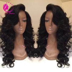 Side Bangs Wavy Long Wigs For African American Women The Same As Hairstyle In Picture - Wigs For Black Women - Lace Front Wigs, Human Hair Wigs, African American Wigs, Short Wigs, Bob Wigs Long Wigs, Short Wigs, Cheap Full Lace Wigs, Wig Styling, Natural Hair Styles, Long Hair Styles, Natural Wigs, Natural Skin, Wigs With Bangs