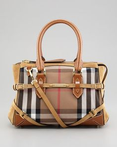Check Canvas and Suede Satchel Bag, Tan by Burberry at Neiman Marcus. Smooth Leather, Suede Leather, Satchel Bag, Crossbody Bag, Burberry Handbags, Fasion, Neiman Marcus, Shoulder Strap, Canvas