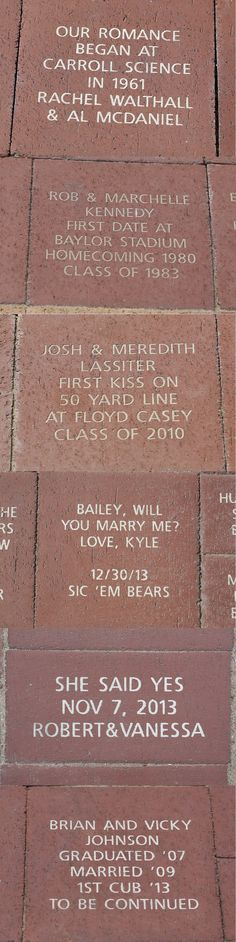 7 love stories found on McLane Stadium brick inscriptions