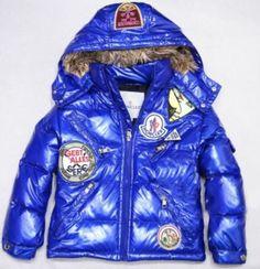 Moncler Jacket Kids Down Multiple Logo Blue [2900271] - £121.39 :