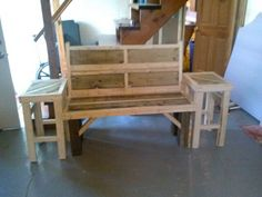 Custom made Bench with two side tables attached $175.00 dlstouffer1@gmail.com made from pine and preasure treated sealed for outdoor use