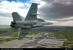 """F/A-18F Super Hornet of US Navy's VFA-122 """"Flying Eagles""""  during a Banana Pass over NAS Lemoore."""