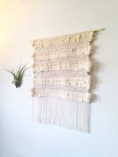 Extra large woven wall hanging, weaving, Roving, wool, on light wood dowel. Wall tapestry. Big wall hanging. Comes with extra gift!