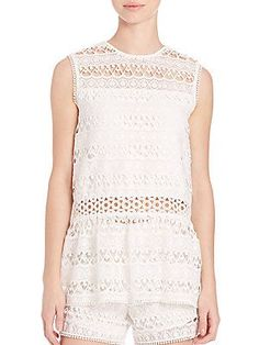 Alexis Georgette Embroidered Tank - White Embroidery - Size