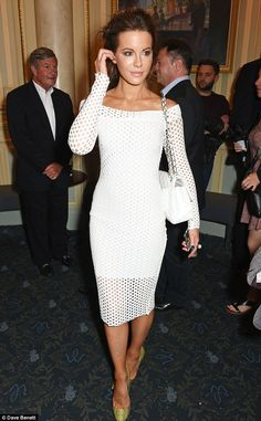 Kate Beckinsale in a simple, chic, modern and elegant white dress