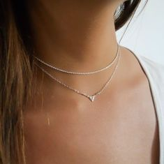 Silver Rope Chain Choker and Silver Triangle Pendant Necklace - Set Of 2 Silver Necklaces, #529 Sterling Silver Choker Necklace, Layered Choker Necklace, Layered Necklaces Silver, Black Necklace, Metal Necklaces, Necklace Set, Triangle Necklace, Pendant Necklace, Choker Necklace Outfit