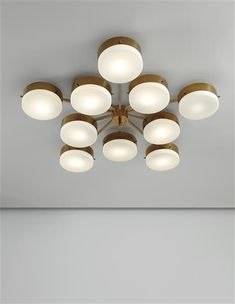 Gio Ponti; Polished and Painted Brass & Opaque Glass Ceiling Light, c1955.