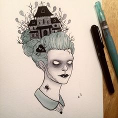 "3,027 Likes, 34 Comments - Ally Burke (@funnyskullgrin) on Instagram: ""Day 7 of #mabsdrawlloweenclub / #inktober"""