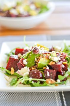 Beet, Avocado and Goat Cheese Arugula Salad