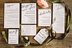 Black Tie-Meets-Rustic North Carolina Wedding at the Old Edwards Inn, Formal Black and White Invitation Suite