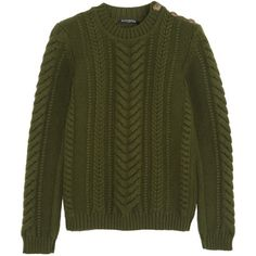 Balmain Cable-knit wool sweater ($555) ❤ liked on Polyvore featuring tops, sweaters, shirts, balmain, green, green cable knit sweater, military style shirts, embellished sweaters, balmain shirt and military shirt