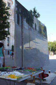 Alberto Martín Giraldo pintando en el Palacio de Cibeles.Madrid.