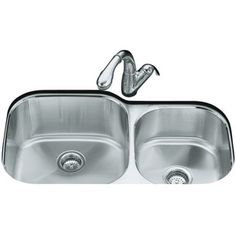 Kohler K3356-NA Undertone Stainless Steel Undermount - Double Bowl Kitchen Sink - Stainless Steel