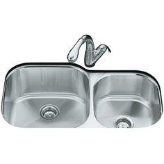 Kohler K3356-NA Undertone Stainless Steel Undermount - Double Bowl Kitchen Sink - Stainless Steel kitchens, kitchen renov, bowl kitchen, stainless sink, murphi kitchen, kitchen sinks, stainless steel