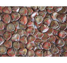 50pcs Rose Petal 7x8mm Pressed Czech Glass Beads Red Opal Travertine