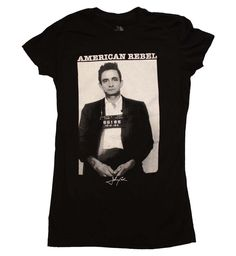 Johnny Cash American Rebel Junior's T-Shirt #maninblack country music nashville rockabilly halloffame folsomprison walktheline ringoffire legend american rebel