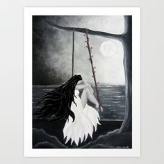 Black and white painting art print Woman Female Moon Dreams midnight dreamy Art Print by Treelovergirl - $15.60