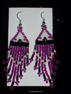 purple bead work | American Beadwork Native American Beaded Earrings - Original Beadwork ...
